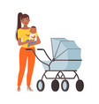mum and bawith pram character vector image vector image