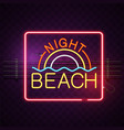 night beach neon square frame purple background ve vector image vector image