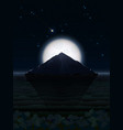 night landscape with moon and mountain vector image vector image