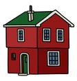 Old dark red house vector image vector image