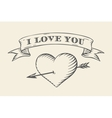 Old ribbon with message I love you heart and vector image vector image