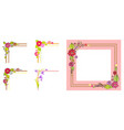 pink frame thick parallel lines bouquet in corner vector image