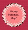 Pink Valentines Day Greeting Card vector image