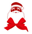 red bow and contour face of santa claus vector image