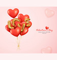 romantic red balloons heart and letter love vector image