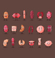 sausage and wurst smiling meat characters vector image vector image