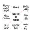 set handwritten merry christmas and happy new vector image vector image