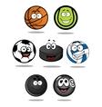 Set of cartoon sports balls characters vector image