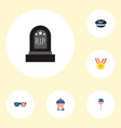 set of history icons flat style symbols with grave vector image vector image
