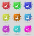 Skier icon sign A set of nine original needle vector image