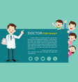 smart doctor and cute family background vector image vector image