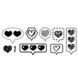 social media vintage heart like comment icons set vector image
