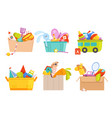 toys box children toy cars rocket soccer bear vector image vector image