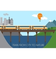 Train on railway and bridge vector image