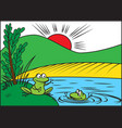 two cheerful frog vector image vector image