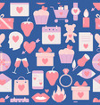 valentines day seamless pattern with icons in flat vector image vector image