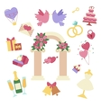Wedding icon set isolated on white vector image vector image