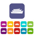 wooden boat icons set vector image vector image