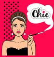 pop art girl with cigarette vector image