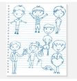 Sketch kids on a notebook vector image