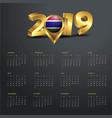 2019 calendar template gambia country map golden vector image vector image