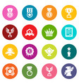 awards medals cups icons set colorful circles vector image vector image