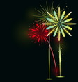 Beautiful Fireworks on black background vector image vector image