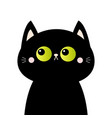 black cat head face silhouette green eyes pink vector image vector image