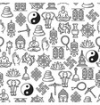 buddhism religion line symbols seamless pattern vector image vector image