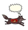 cartoon wolf with mouse in belly with speech vector image
