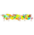children dancing on the background color spray vector image