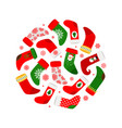 christmas socks and red snowflakes round banner vector image