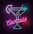 cocktails neon sign purple background image vector image