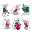 colorful rats wear christmas vector image