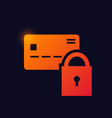 credit card with padlock sign glowing neon icon vector image