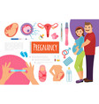 flat pregnancy and child birth composition vector image vector image
