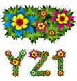 flowers alphabet 09 vector image vector image