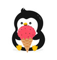 funny happy cute smiling penguin vector image vector image