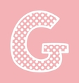 G alphabet letter with white polka dots on pink vector image vector image