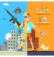 Gamer Soldier immersion virtual reality Icon vector image vector image