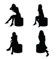 girl lady silhouette sitting in black color vector image vector image