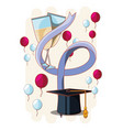 graduation card with hat and wine vector image