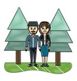 grated beauty couple together with pine trees vector image