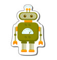 green cheerful cartoon robot character vector image vector image