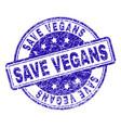 grunge textured save vegans stamp seal vector image vector image