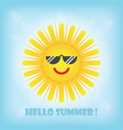 hello summer smiling yellow sun emoji icon with vector image vector image