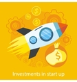 Launching New Product Start up Rocket Idea Icon vector image vector image