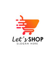 lets shopping logo design template shopping cart vector image vector image