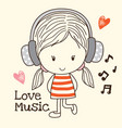 little girl listen music vector image vector image