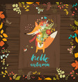 lovely autumn card with a fox and flowers vector image vector image